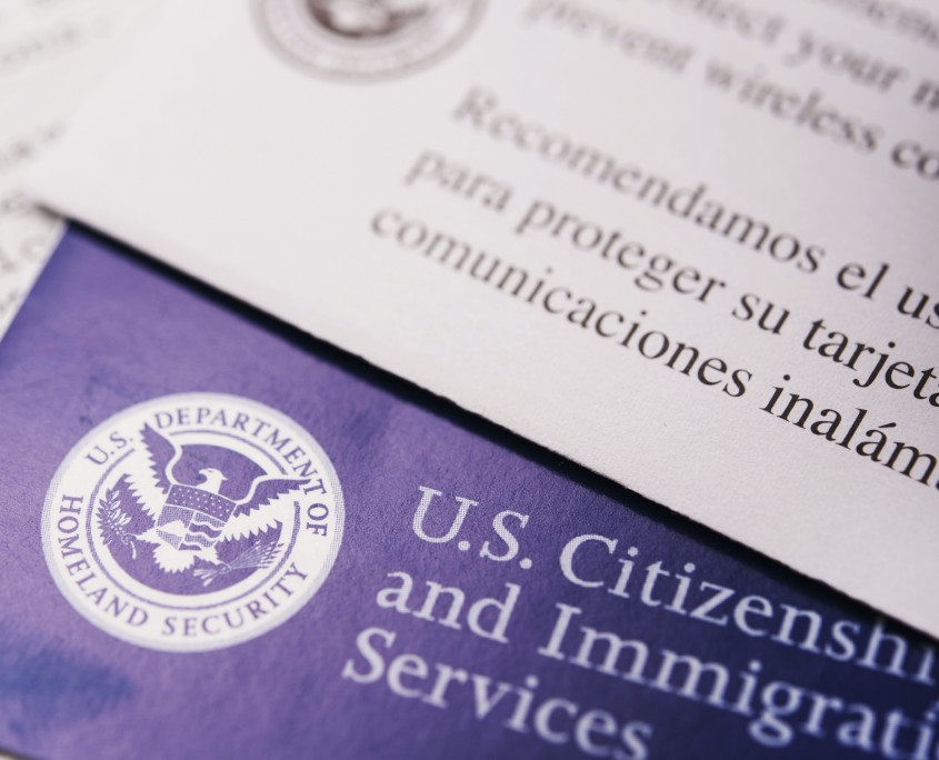 United States Citizenship and Immigration Flyers and Documents Closeup.